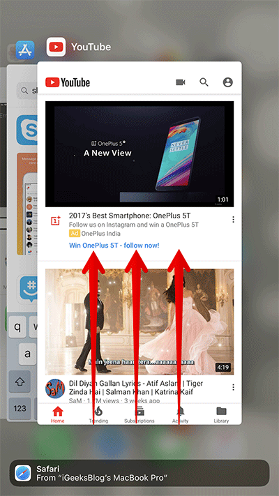 Force Quit YouTube App on iPhone