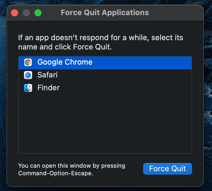 Force Quit the App on Mac