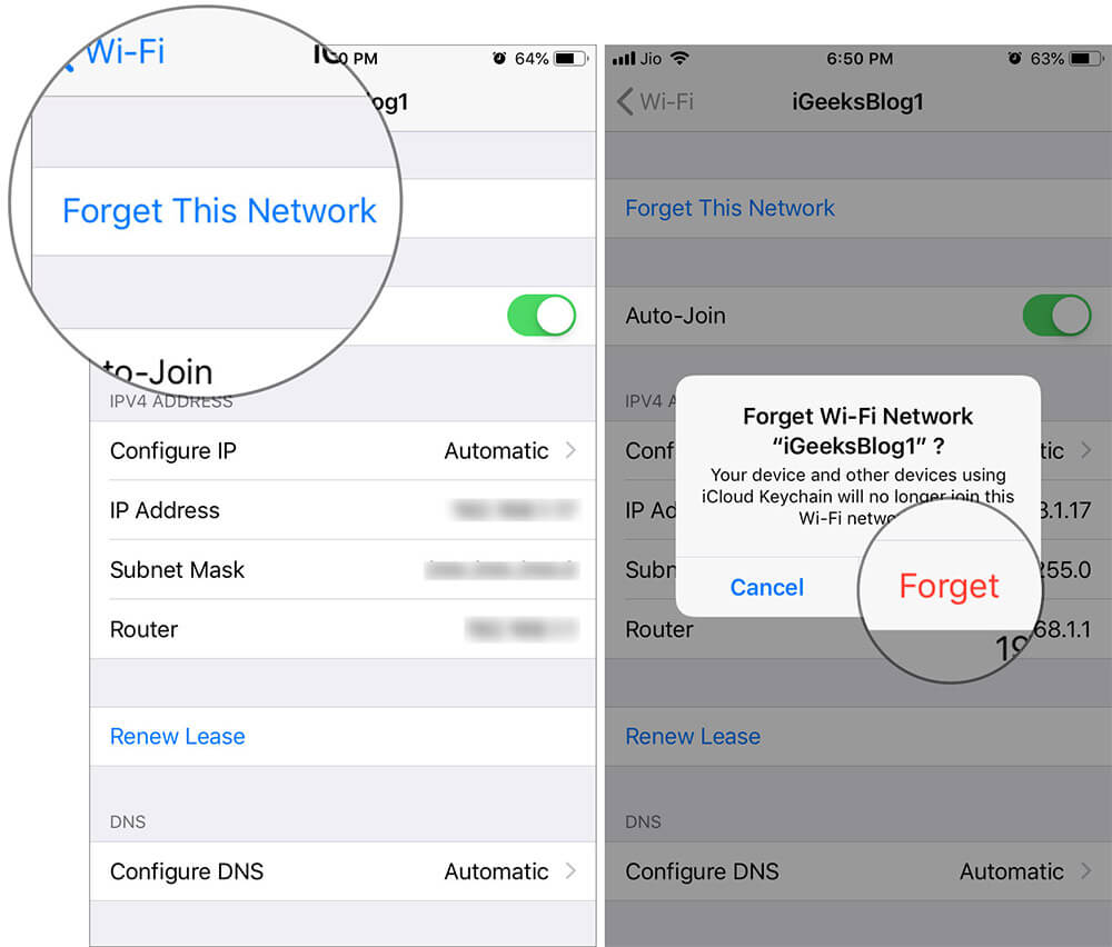 Forget WiFi Network on iPhone