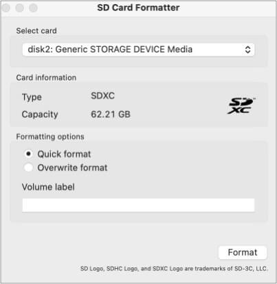 Format SD card using SD Card Formatter software for Mac
