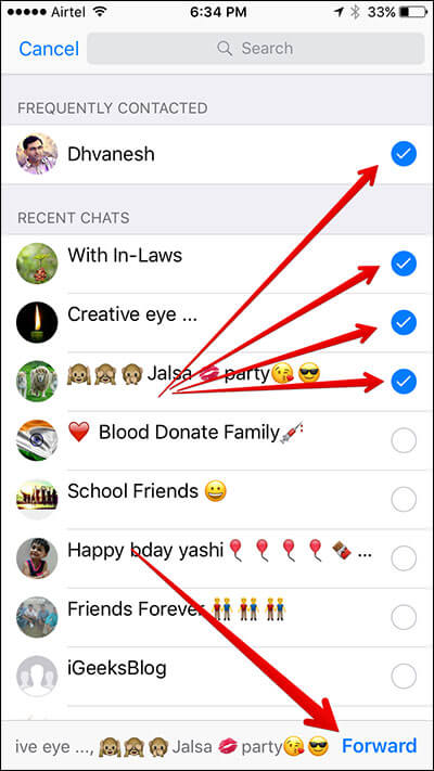Forward WhatsApp Message to Multiple Group and Contacts