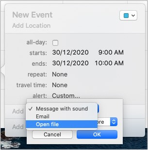 From Custom setting select Open file in Calendar app