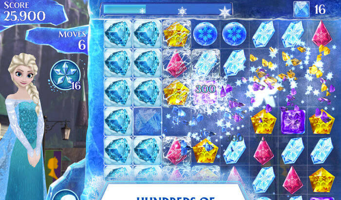 Frozen Free Fall Puzzle iPhone and iPad Game Screenshot
