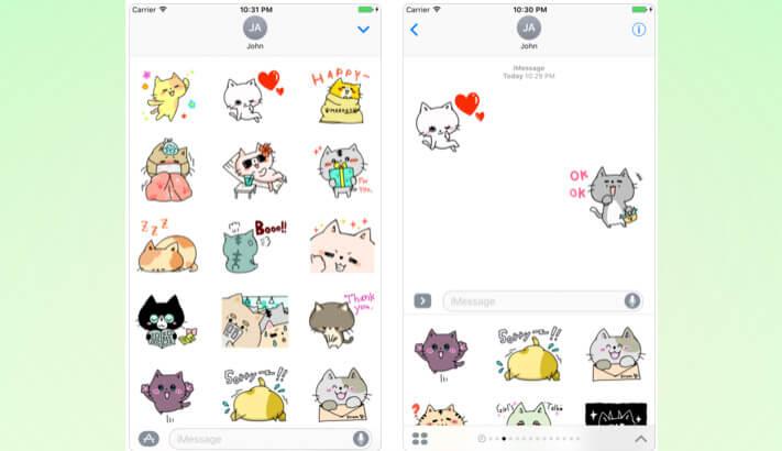 Funny Cat Stickers Pack iMessage App Screenshot