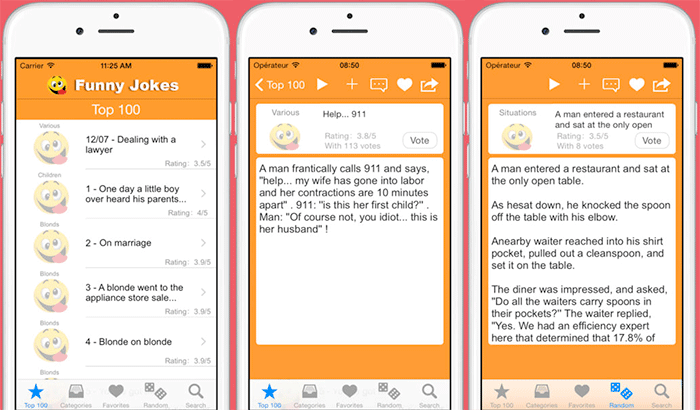 Funny Jokes, Stories & Puns iPhone App Screenshot