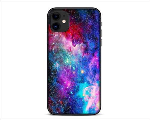 Galaxy Cosmo Nebula Purple Stars iPhone 11 Skin Wrap