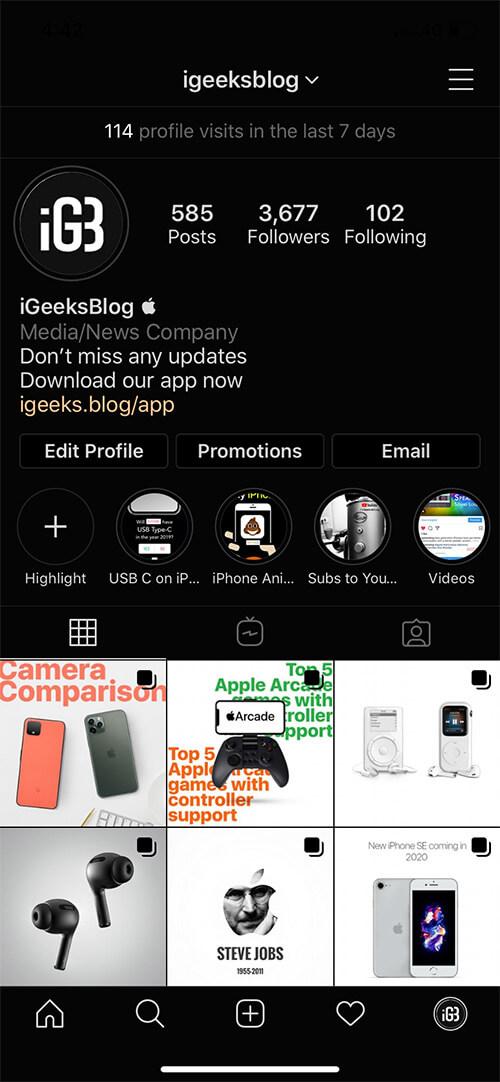 Get Dark Mode on Instagram on iPhone in iOS 12