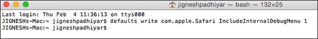 Get Debug Menu in Safari on Mac