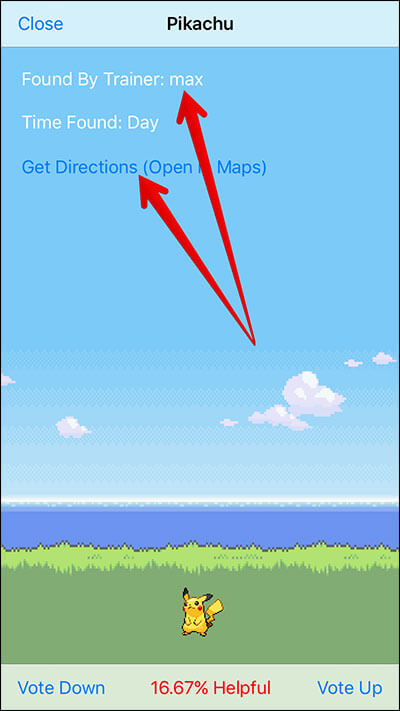 Get Direction to Pokemon using Poke Radar iPhone App