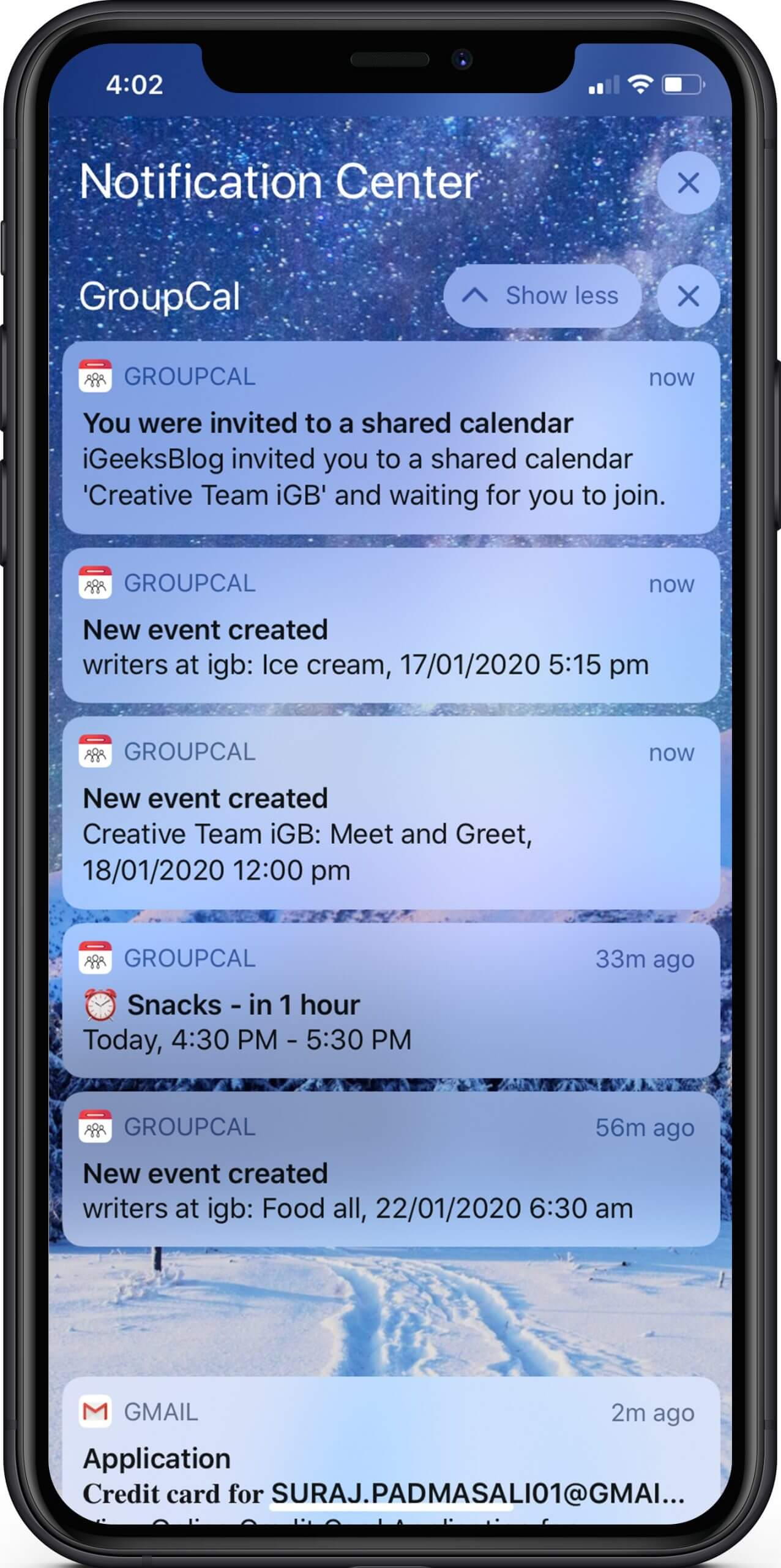 Get Notification of Event in Real Time in GroupCal App on iPhone