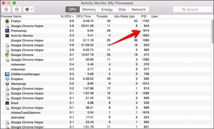 Get Process ID from Activity Monitor on Mac