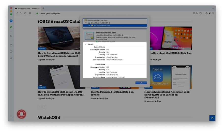 Get The Details of Digital Certificate in Opera on Mac