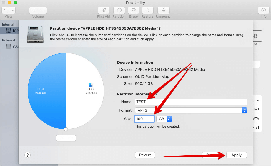 Give Partition Name, Enter Size and Click Apply in Mac Disk Utility app