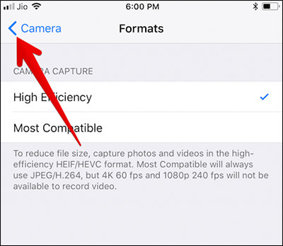 Go Back to Camera Settings on iPhone X or iPhone 8 Plus