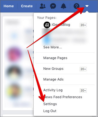 Go to Facebook Account Settings on Computer