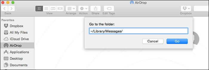 Go to Folder Message Library in Mac OS X