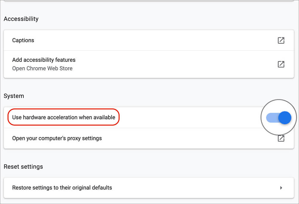 Go to Hardware Acceleration in Chrome Advance Settings on Mac