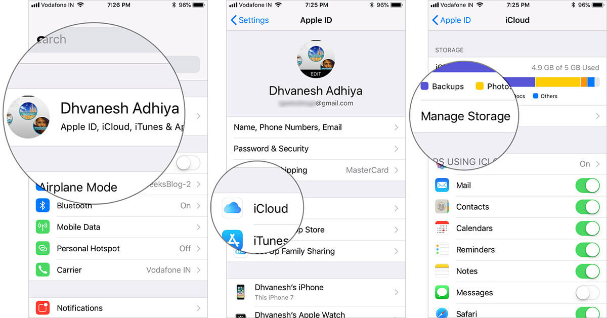 Go to Manage Storage in iPhone iCloud Settings