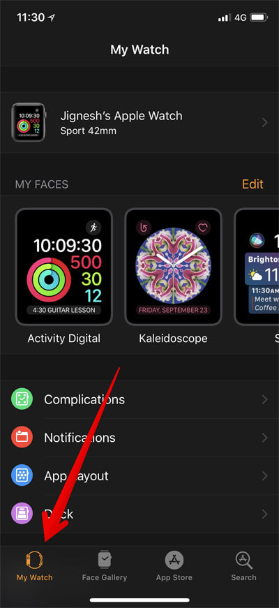 Go to My Watch in iPhone Apple Watch App