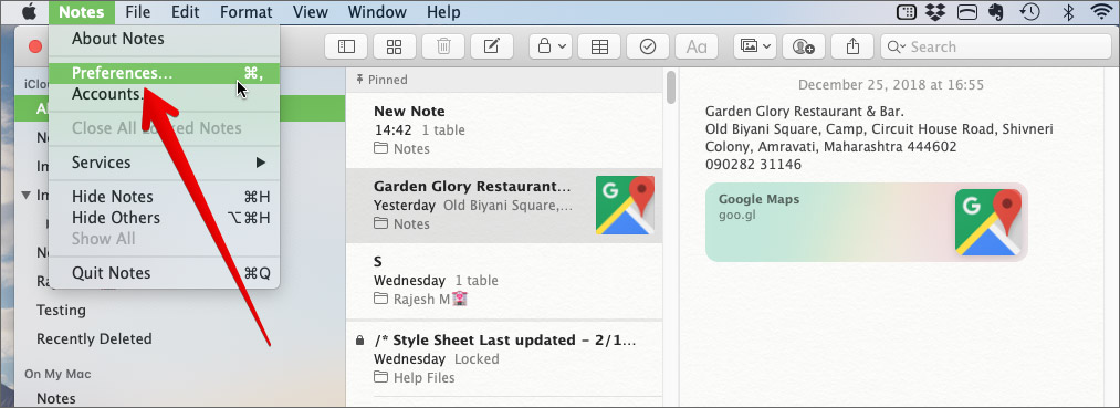 Go to Notes App Preferences Settings on Mac