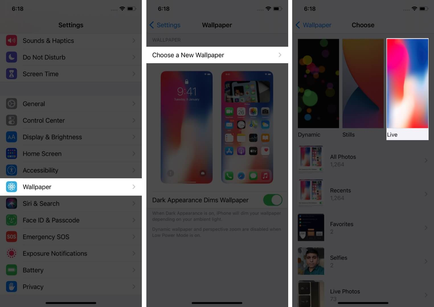 Go to Settings and select wallpaper on iPhone