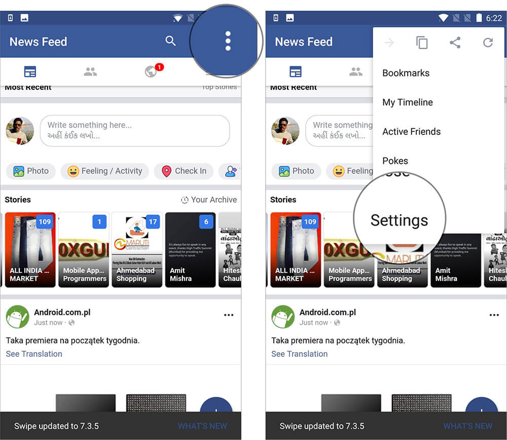 Go to Settings in Swipe for Facebook App on Android