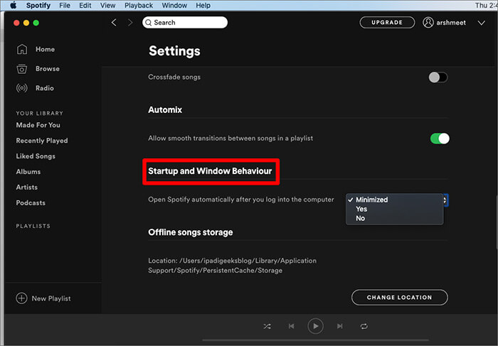 Go to Startup and Window Behavior Settings on Mac
