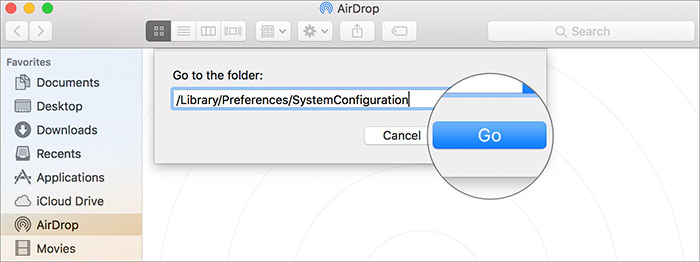 Go to SystemConfiguration Setion on Mac