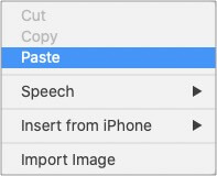 Go to desired location and right-click to Paste text