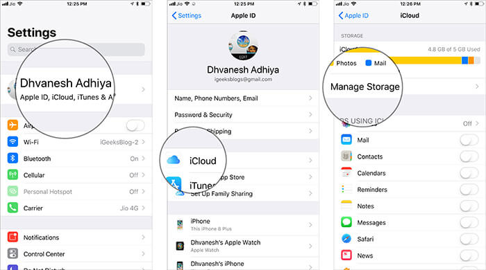 Go to iCloud Manage Storage on iPhone