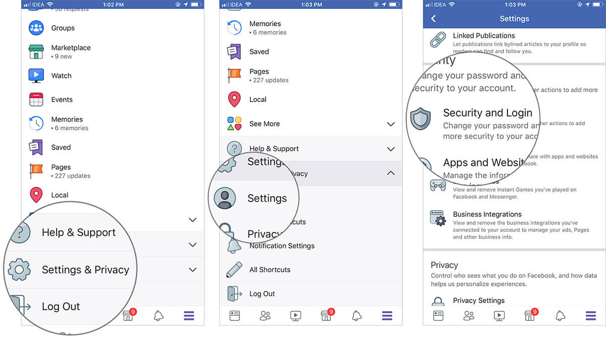 Go to your Security and Login Settings on Facebook App on iPhone