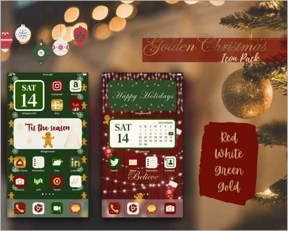 Gold Christmas Aesthetic App Icons for iPhone Screenshot