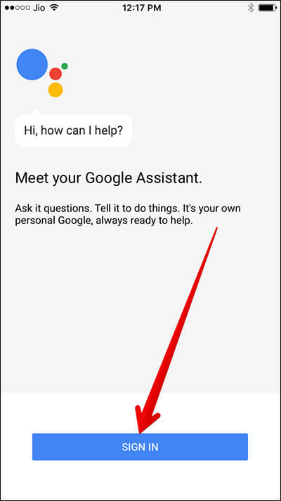 Google Assistant Sign In Screen on iPhone