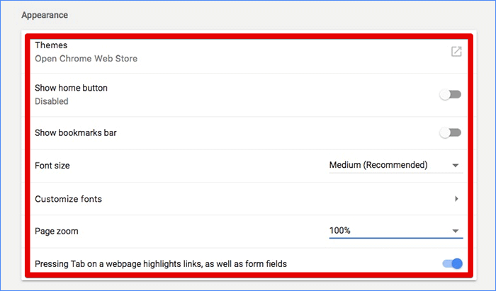 Google Chrome Appearance Options