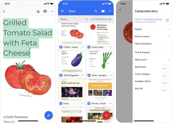 Google Docs iPhone and iPad App Screenshot
