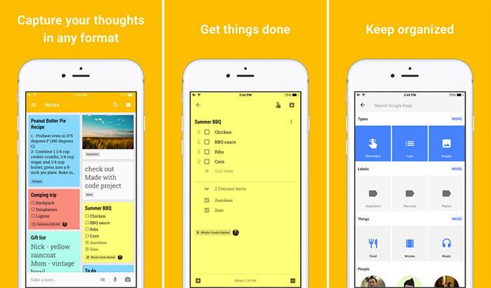Google Keep iPhone and iPad Note Taking App Screenshot