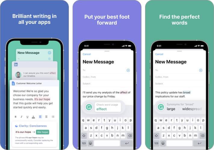 Screenshot der Grammatik-Blogging-App