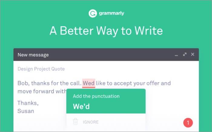 Grammarly for Safari Mac App Screenshot