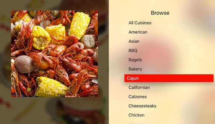 Grubhub Apple TV App Screenshot