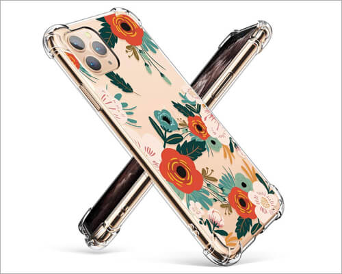 Gviewin Floral Design iPhone 11 Pro Max Clear Case for Women