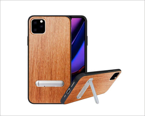 HHDY Kickstand Wood Cheap Case for iPhone 11 Pro