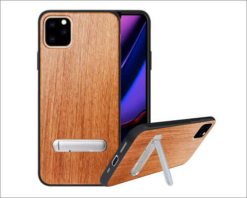 HHDY iPhone 11 Pro Kickstand Wooden Cases