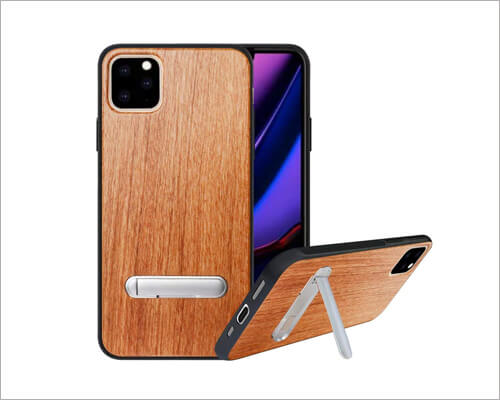 HHDY iPhone 11 Pro Max Metal Kickstand Wood Case