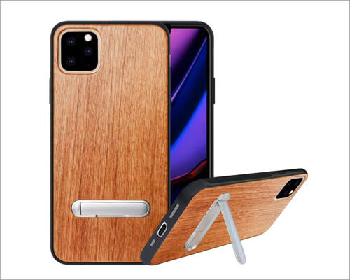 HHDY iPhone 11 Pro Max Natural Wood Kickstand Case