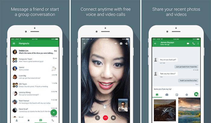 Hangouts FaceTime Alternative iPhone App Screenshot