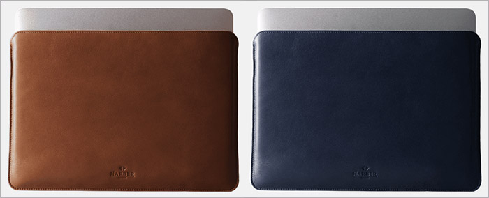 Harber London Brown and Navy Blue Leather Sleeve for MacBook Pro and Air