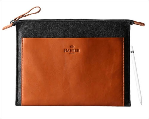 Harber London Folio Leather Case with with Apple Pencil Holder for 10.2 inch iPad