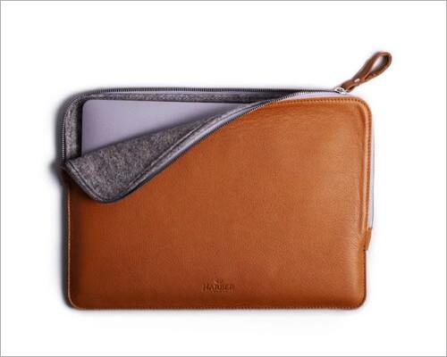 Harber London Slim Leather Folio Laptop Sleeve Case