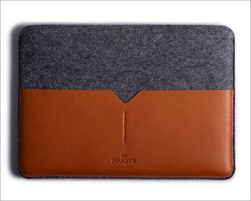 Harber London Slim Leather Sleeve for 16-inch MacBook Pro