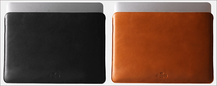 Harber London Tan and Black Leather Sleeve for MacBook Pro and Air